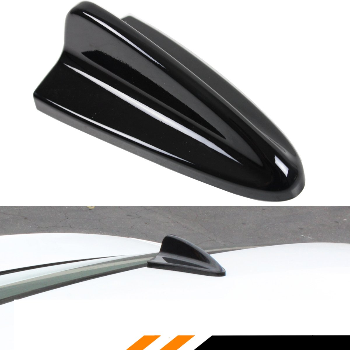 Cuztom Tuning PAINTED GLOSSY BLACK STICK-ON DECORATIVE DUMMY SHARK FIN ROOF TOP ANTENNA