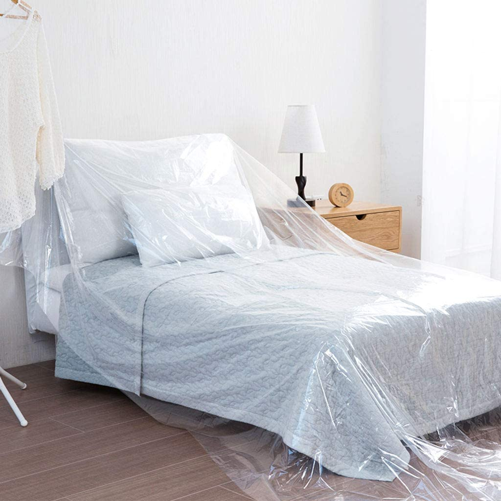 Furniture Cover for Moving Long Term Storage, Waterproof Couch Covers Dust Cover Bed Cover Painting Stain Resistant -Transparent-90x500cm(35x197inch)
