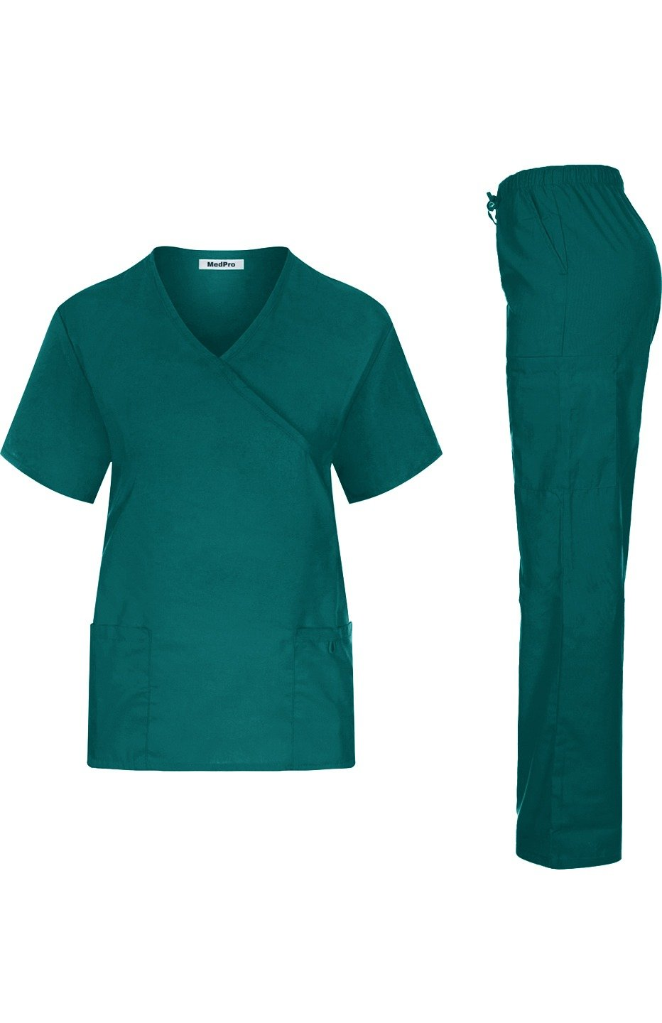 MedPro Women's Solid Medical Scrub Set Mock Wrap Top and Cargo Pants Hunter Green XL (GT-755)