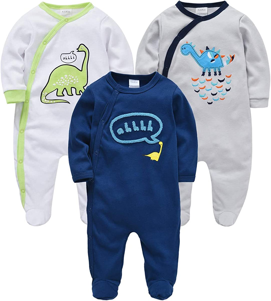 0-12 Months 100/% Cotton kavkas Baby Boy Romper Jumpsuit Infant Footed Pajamas Dinosaur Onesies for Sleep and Play 3 Pack