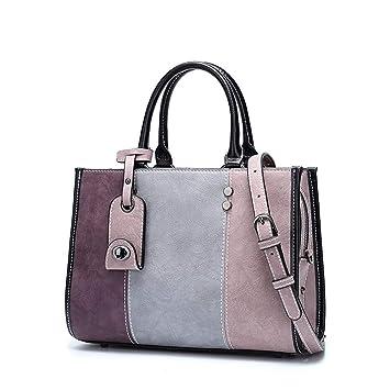 2476bec862f7 GLJJQMY Korean Version of The Stitching Handbag Casual Bag Fashion ...