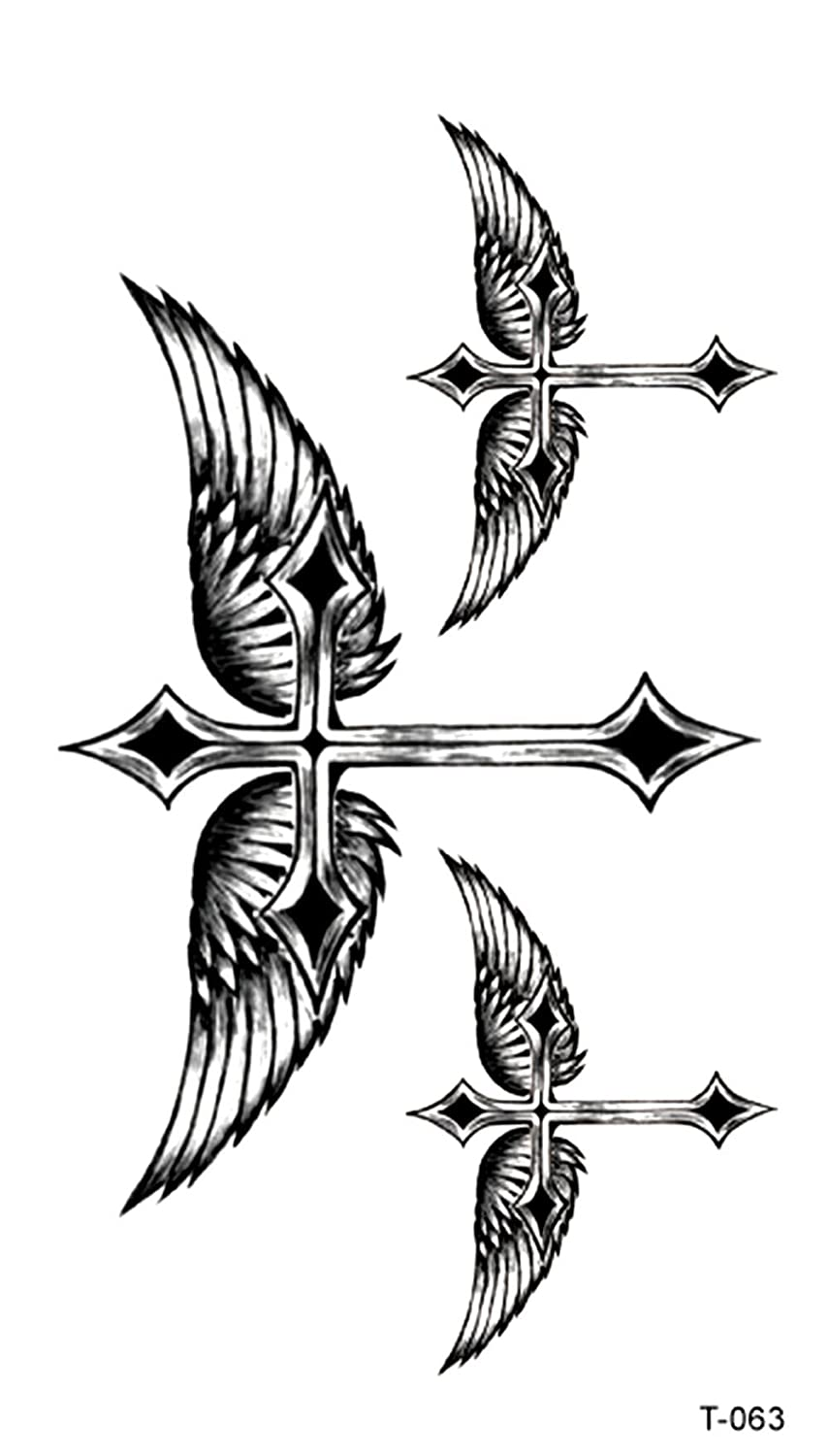 Amazoncom Angel Wing Cross Temporary Tattoo Party Event Fun Clothing