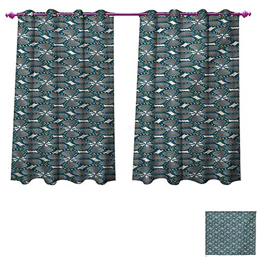 unrequitedlove Pinwheel Window Curtain Fabric Digital Spring Flower Petals Blossom with Swirled Leaves Print Drapes for Living Room W84 x L72 Petrol Blue Orange and Yellow