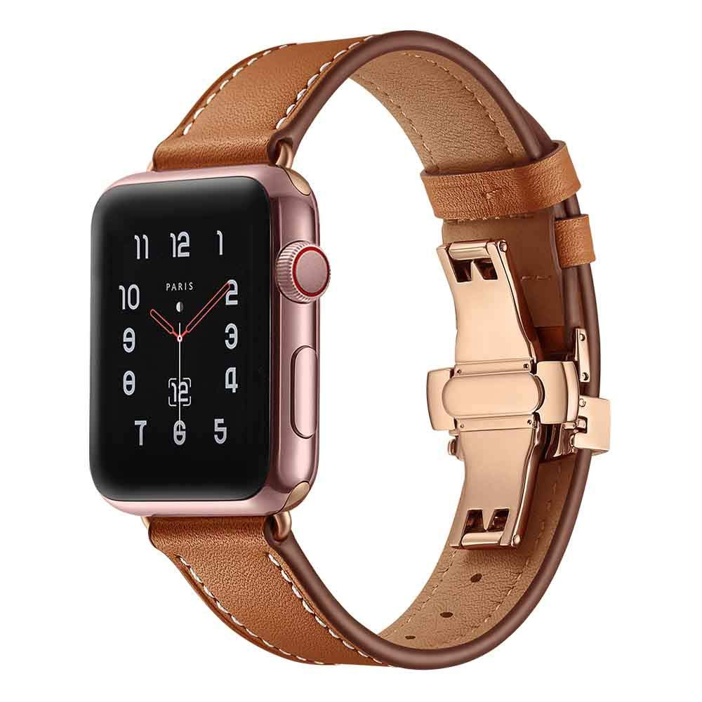 Cywulin Compatible for Apple Watch Band 38mm/40mm 42mm/44mm Genuine Leather Replacement iWatch Bands Loop Wrist Strap Bracelet with Butterfly Buckle for iWatch Series 4/3/2/1 (42mm/44mm, Brown)