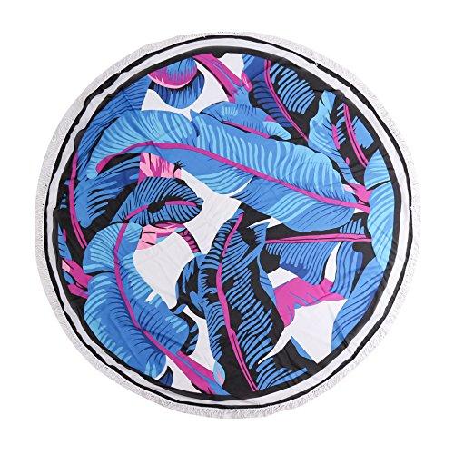 Rond Imprimé Plage feuille Frange serviette Tapis Avec Fleur De Bleu Acvip gRwBAR