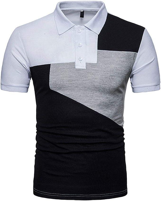 Camisas Polo Camisetas Hombre Slim Fit Color De Manga Corta Cuello ...