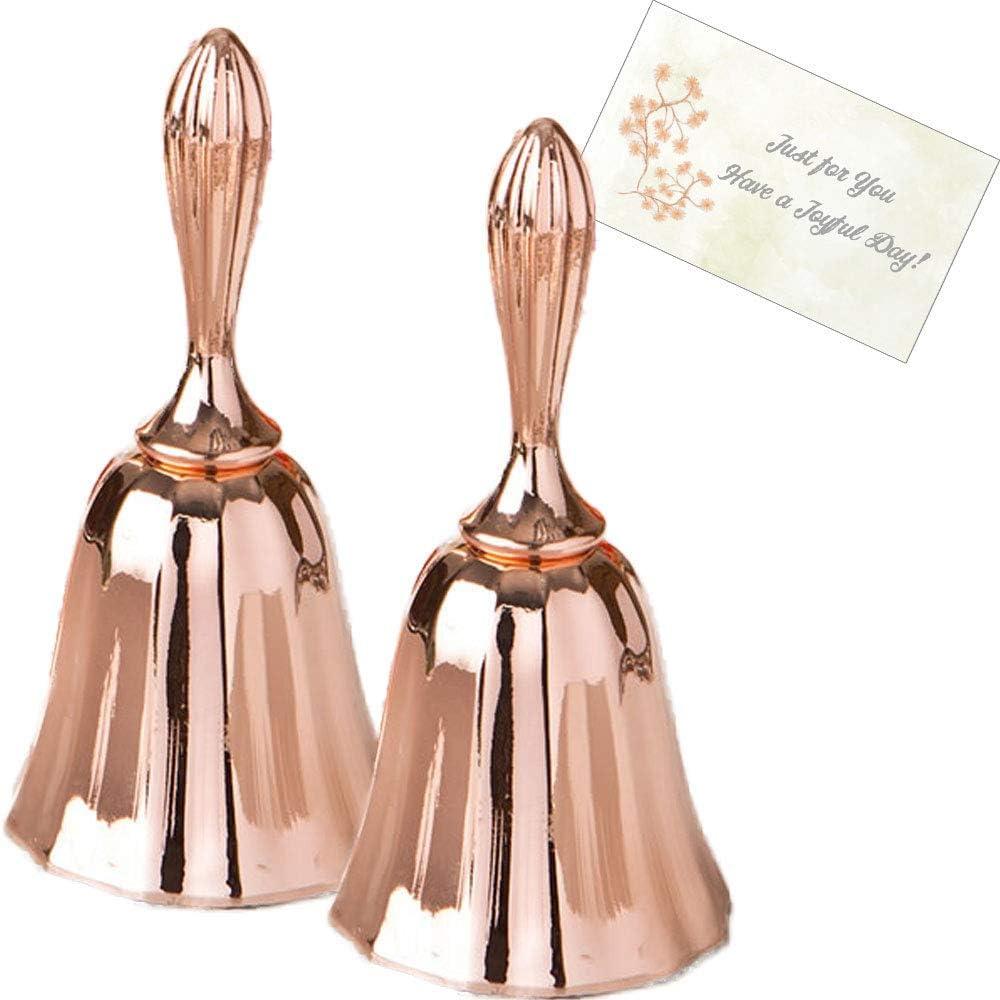FASHIONCRAFT Hand Bell, 2PCS Loud Call Bell Wedding Bells Desk Bell Tea Dinner Bell Classroom Bell for Teachers, Rose Gold Handbells Set with Gift Tag