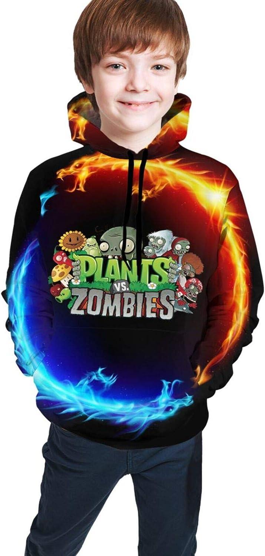 Israel Lopez Unisex Youth Teen Boy Girl Plants Vs. Zombies 3D Digital Print Pullover Hoodie Hooded Sweatshirt Black