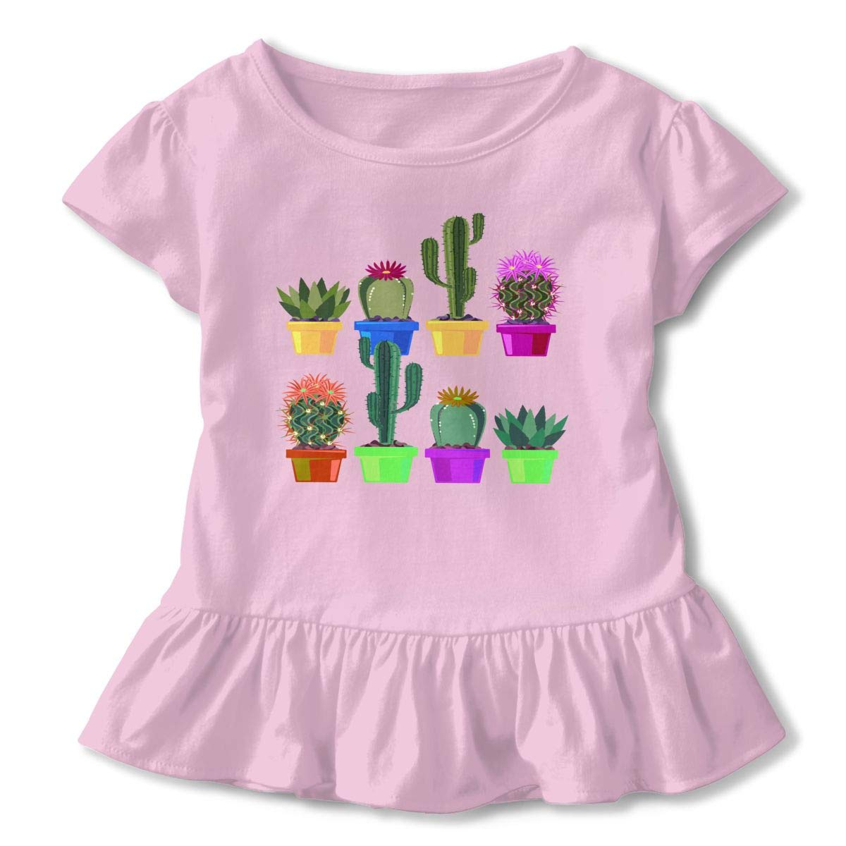 Cheng Jian Bo Cactus Succulent House Plants Cacti Desert Garden1 Toddler Girls T Shirt Kids Cotton Short Sleeve Ruffle Tee
