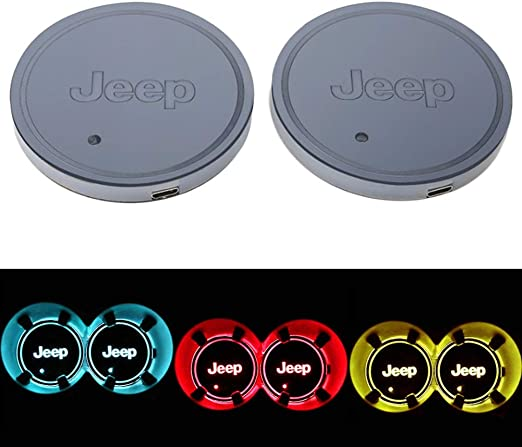 2 Pezzi LED Car Logo Cup Holder Pads 7 Colori Changing USB Charging Mats Bottle Coasters Car Atmosphere Lamps Jaguar