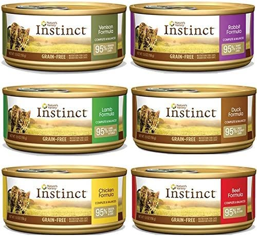 Nature s Variety Instinct Canned Cat Food Variety Pack Lamb, Chicken, Beef, Venison, Rabbit, Duck 12, 5.5-ounce cans
