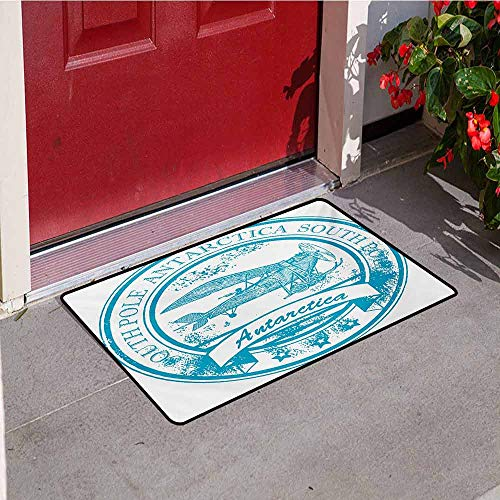 Jinguizi Vintage Airplane Welcome Door mat South Pole Antarctica Words on Retro Style Blue Stamp Grunge Airplane Door mat is odorless and Durable W15.7 x L23.6 Inch Sky Blue White