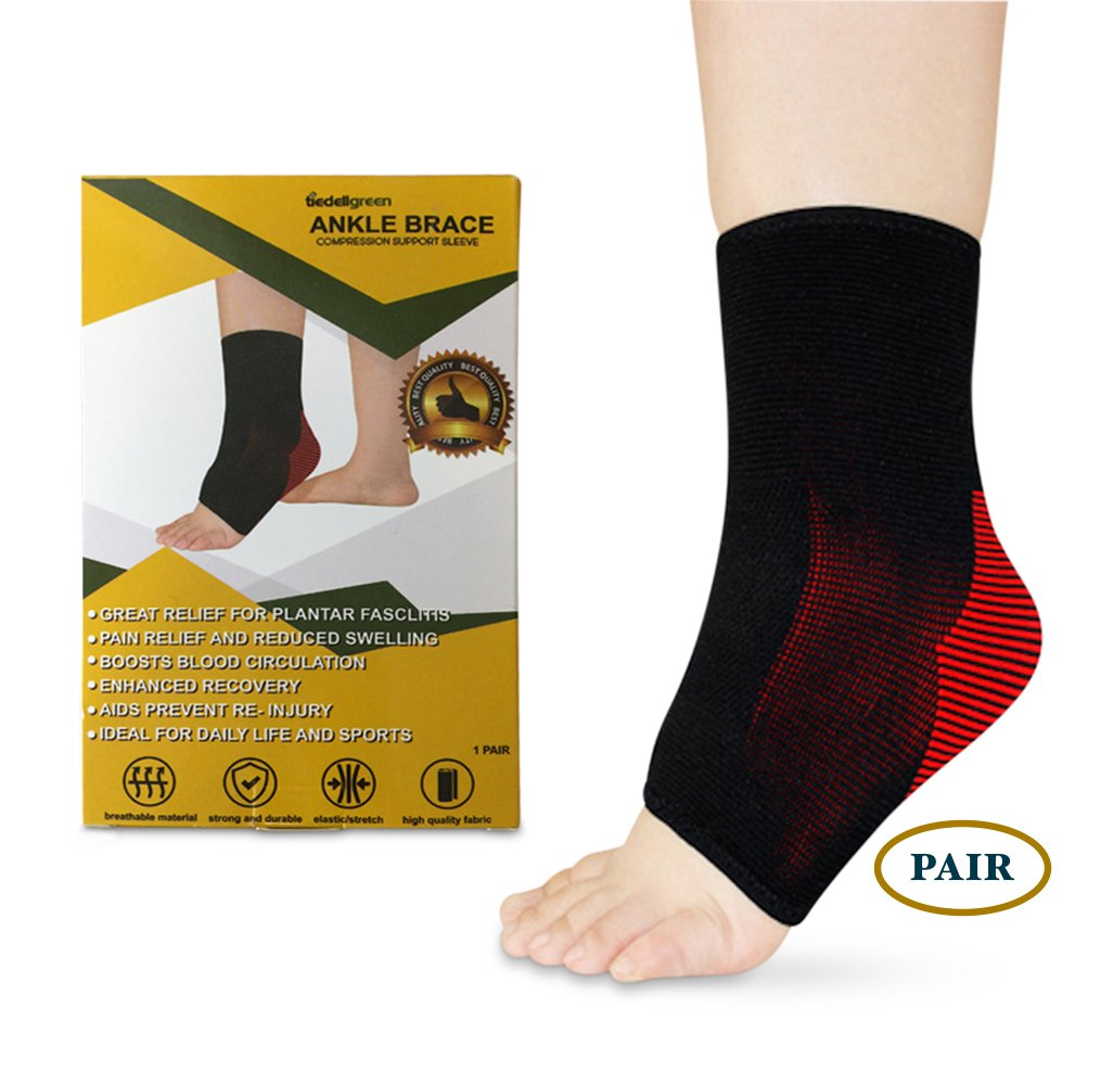Tiedellgreen Ankle Brace Compression Support Sleeve-Socks for Women Men & Kids-Relieves Plantar Fasciitis Arthritis Sprains Swollen Tendons-Sports Athletics Volleyball Walking Jog. (Black, Large)