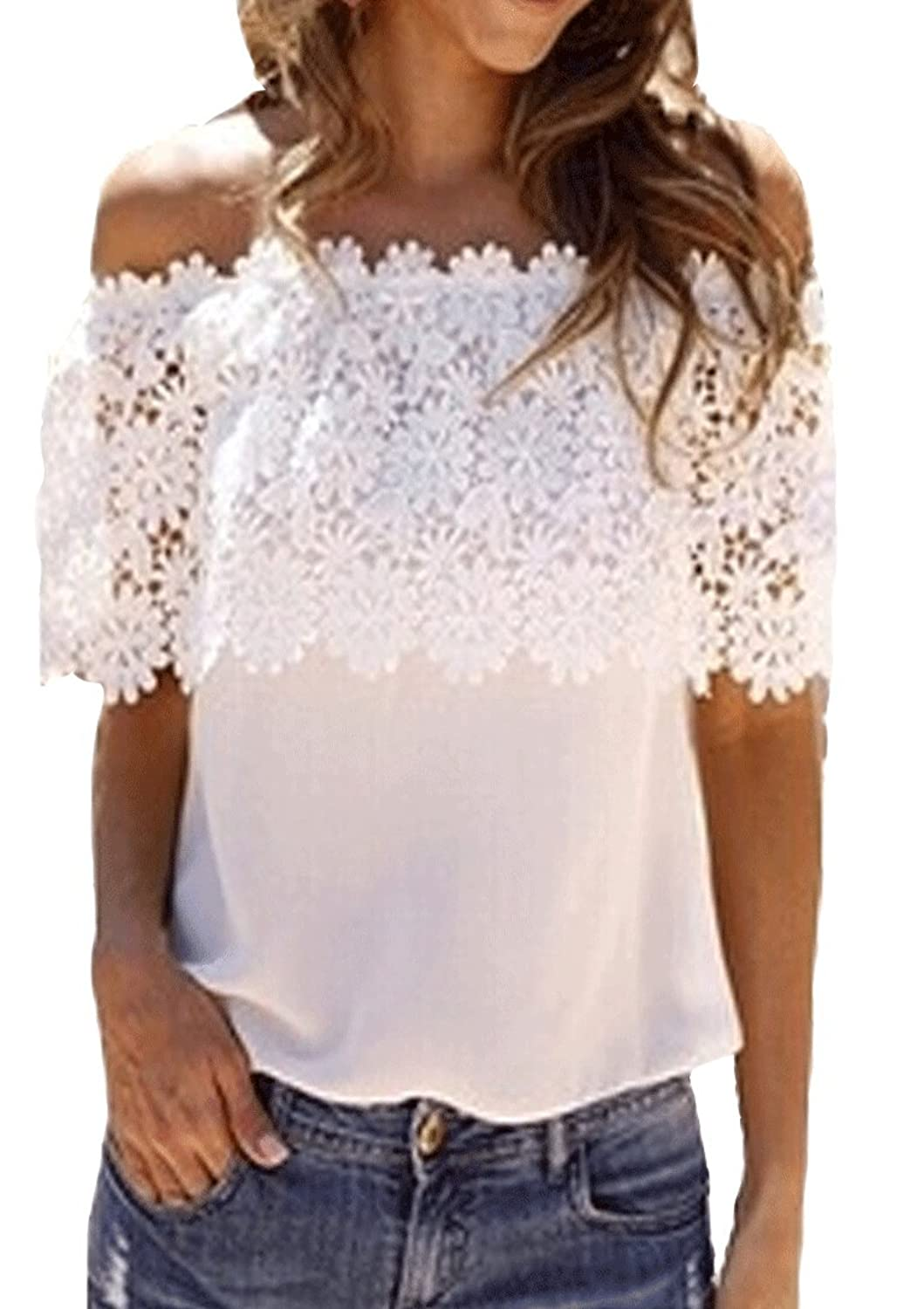 XFashion Damen's-reizvolles Abend-Lace Shoulder Off Chiffon T-Shirt