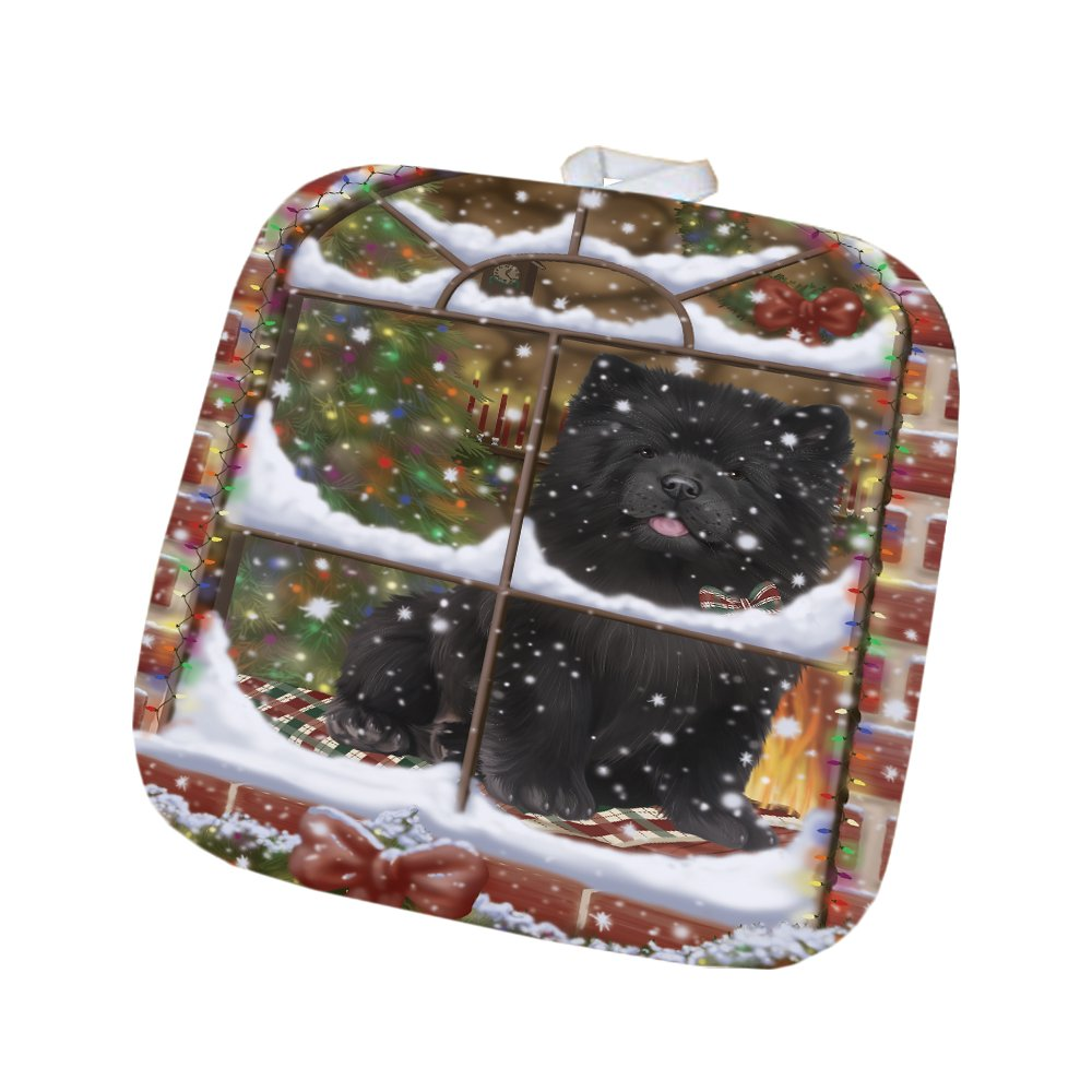 Please Come Home For Christmas Chow Chow Dog Sitting In Window Pot Holder POT48388