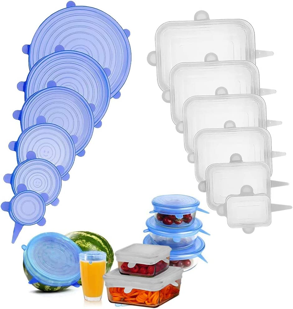 Kaizo Silicone Lids - Set of 12,6 Clear Round 6 Blue Rectangle Reusable Food Container Seals - Stretch Wrap Covers for Bowls, Plates - No BPA Silicone, Microwave & Freezer Safe, Dishwasher-Friendly