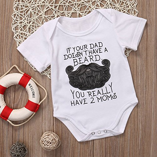 IU Funny Newborn Baby Boy Girl Beard Print Short Sleeve Romper Jumpsuit Playsuit Summer Clothes Outfit