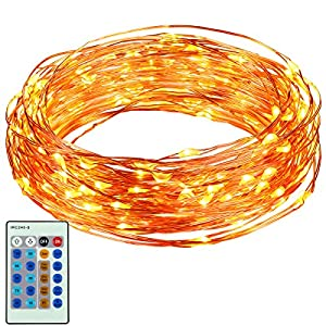 ORIA String Lights, 100 LED Copper Wire String Light, 33 ft Long with 3 Modes Brightness, Dimmable with Remote Control Lights, Waterproof Decoration Lights for Home, Bedroom, Wedding, Christmas, etc