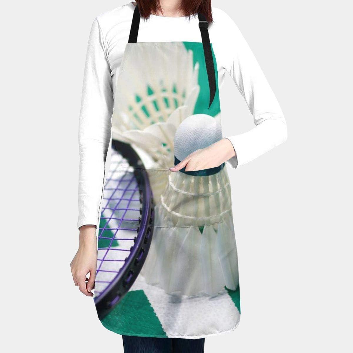 bricolage cuisson jardinage Tablier de badminton pour homme et femme avec poche et liens r/églables tablier de cuisine pour chef de cuisine