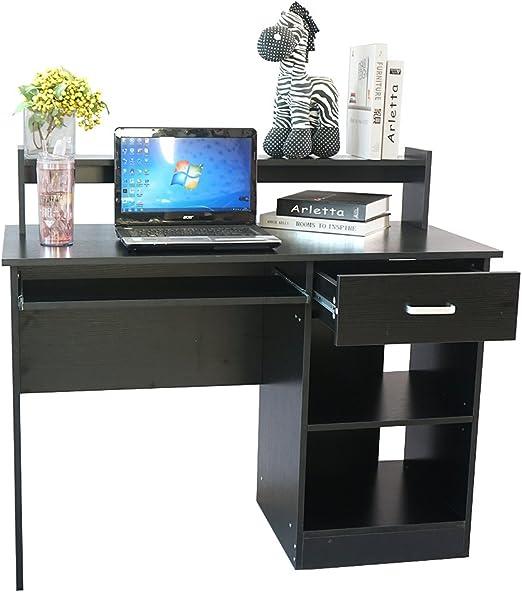 Black Gray Laptop Desk Computer Table Office Workstation Writing Storage Shelves