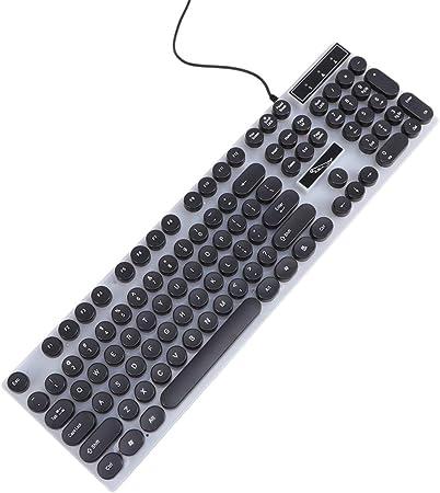 Solustre Teclado con Cable USB Teclado Iluminado con Tecla ...