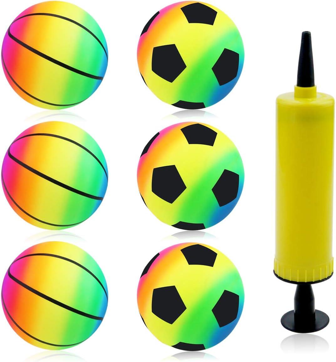 MotBach 6 Pack 6 Inch Rainbow Sports Ball, Inflatable KickBalls Playground Ball Handball Game with Air Pump for School, Home, Outside Activities(Random Pattern)