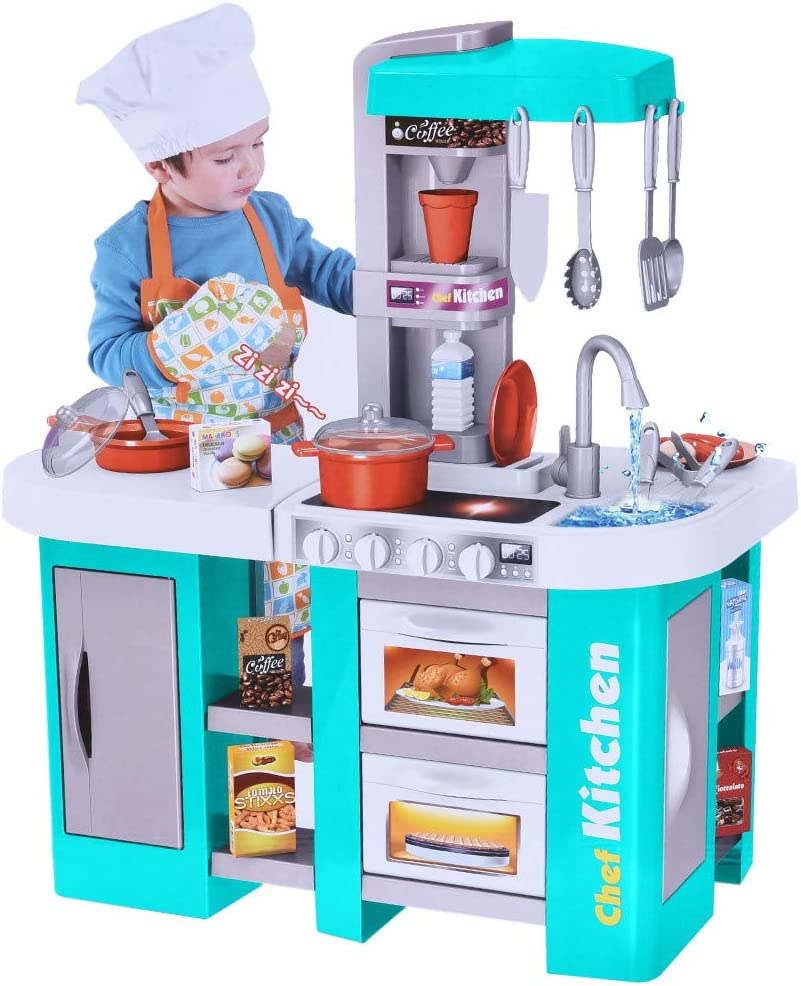 Kitchen Pretend Play Toys Set  Funny Kitchen Pretend Playset Play Kitchen  with Friends Kids Kitchen Playset for Toddler Learning (Blue)