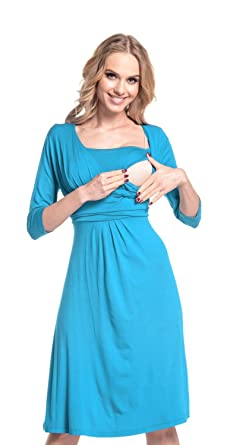 fa2ef80803ac3 Happy Mama. Womens Maternity Nursing 2in1 Skater Dress 3/4 Sleeves. 526p (