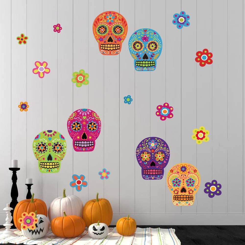 ufengke Colorful Skull Flower Wall Stickers Day of The Dead DIY Wall Decals for Party Room Decoration