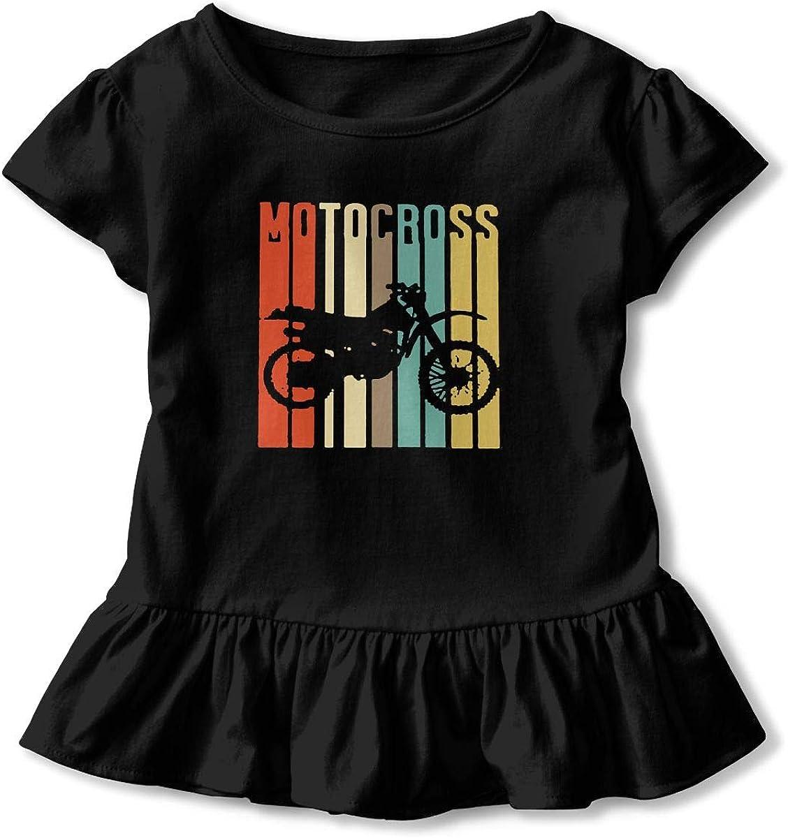 Cheng Jian Bo Cool Motocross Bike Toddler Girls T Shirt Kids Cotton Short Sleeve Ruffle Tee
