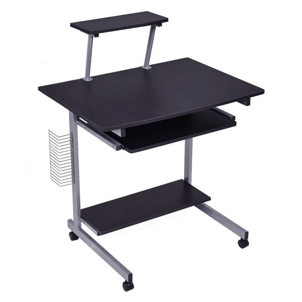 Laptop Notebook Computer Table Stand Portable Desk Rolling Cart Tray Slide-In Keyboard With Shelf - School Home Office Furniture Black #1041
