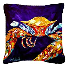 """Caroline's Treasures MW1127PW1818 Crab The Right Stuff Canvas Fabric Decorative Pillow, 18"""" x 18"""", Multicolor"""