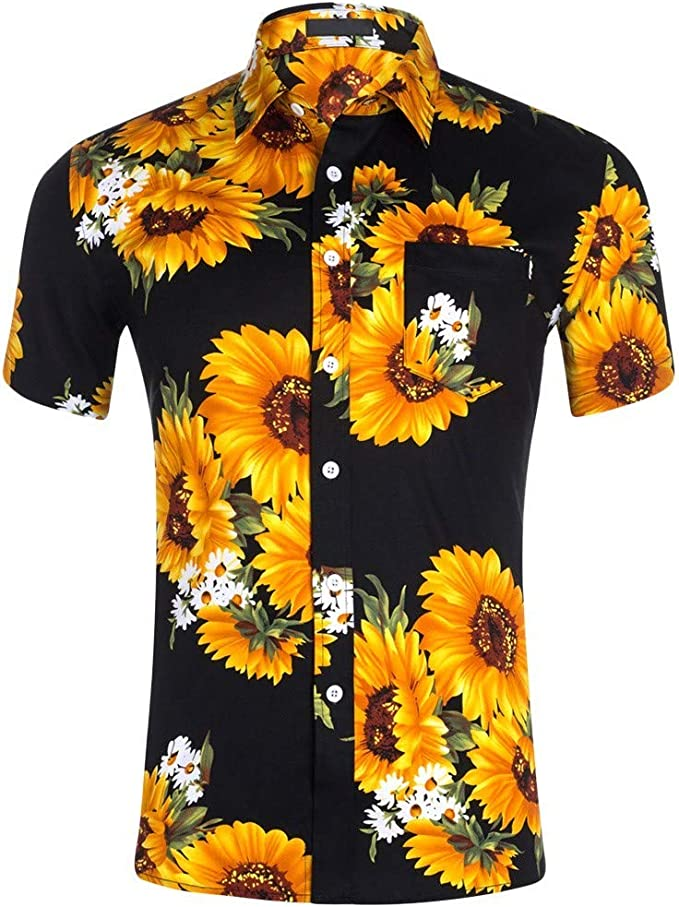 Beautyfine Mens Printing Hawaiian Shirt Ethnic Casual Short Sleeve Cotton Linen Blouse Tops