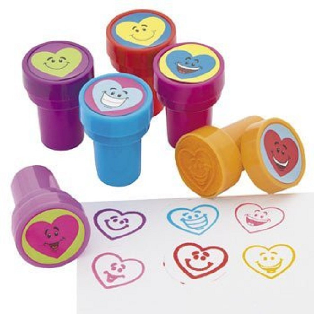 6 ~ Heart Smile Face Stampers-wrapped ~ Valentine Party Favors, Scrapbook Stamps