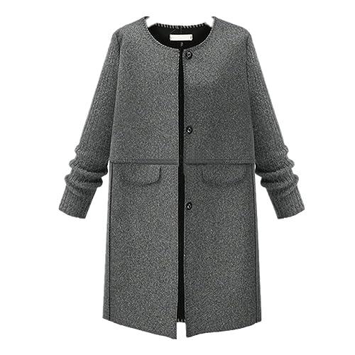 BOMOVO Chaqueta para mujer Abrigo de lana talla grande gris