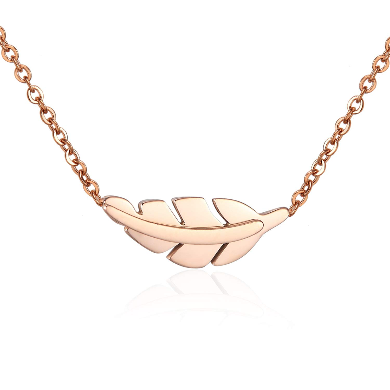 Hobbyant Electroplated Rose Gold Leaf Clavicle Chain Female Necklace