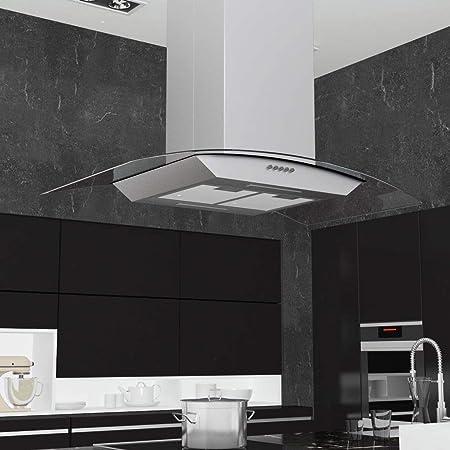Tidyard Campana extractora de Techo 90 cm Acero Inoxidable 756 m³/h LED: Amazon.es: Hogar