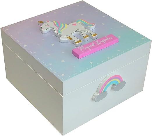 Caja de recuerdos para niñas con diseño de unicornio mágico con texto en inglés