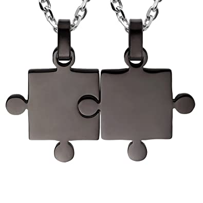 5cc38b4c79 Kebaner Best Friends BFF Friendship Gifts His & Hers Puzzle Matching 2  Piece Couples Pendant Necklace
