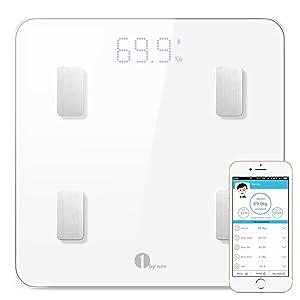 1 BY ONE Báscula corporal digital inalámbrica con App para Android e IOS para administrar el peso corporal, grasa corporal, agua, músculos, IMC, BMR, masa ósea y grasa visceral-blanco (Blanco)