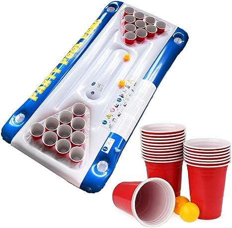 Monsterzeug Bier Pong Luftmatratze für den Swimmingpool, Schwimmender Beerpong Tisch zum Aufblasen, Lustiges Pool und Schwimmzubehör