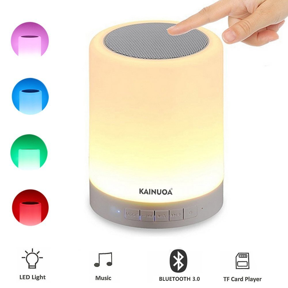 Kainuoa LED Touch Bedside Lamp, with Smart Touch Control Outdoor Table Lamp, Bluetooth Speaker Lamp and Color Control Night Light, Best Gift for Men Women Teens Kids Children Sleeping Aid by Kainuoa