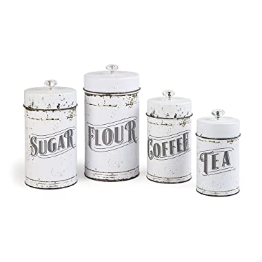 French Country Vintage Style White 4 Piece Canister Set