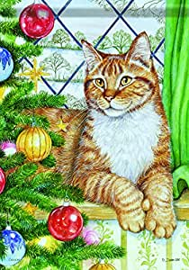 Carson Home Accents Christmas Cat Trends Classic Large Flag