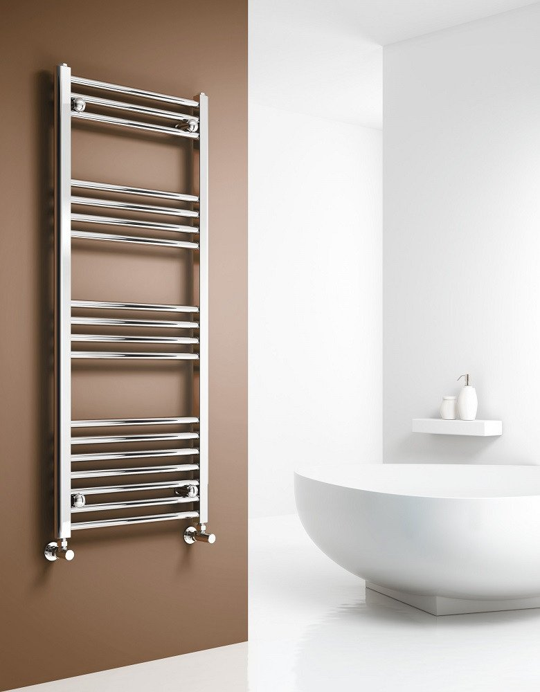 GLOBAL 400mm | 500mm | 600mm Wide Chrome Heated Towel Rail Radiator Curved Ladder for Stylish Bathroom (400 x 800 mm 22mm) (800mm x 500mm)