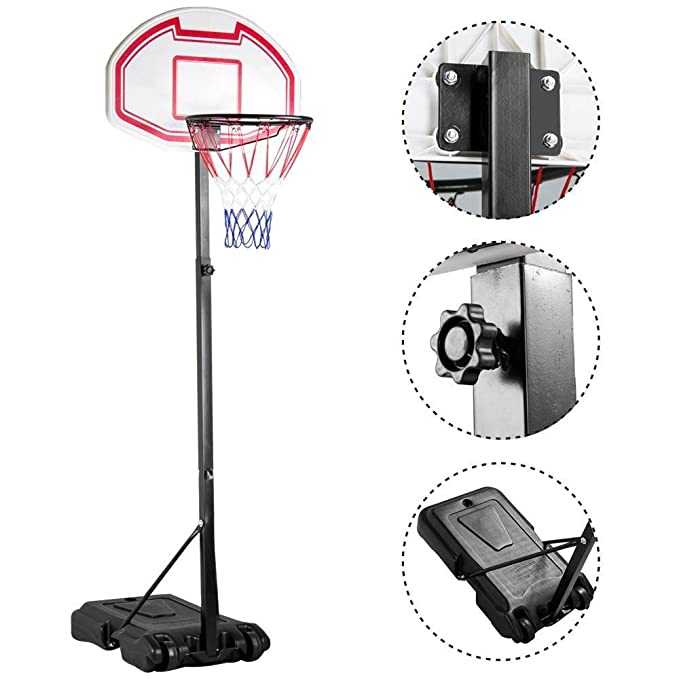 Yaheetech Height Adjustable Basketball Hoop System Portable Kids Junior Indoor Outdoor Net Goal Stand 29 Inch Backboard W/Wheels