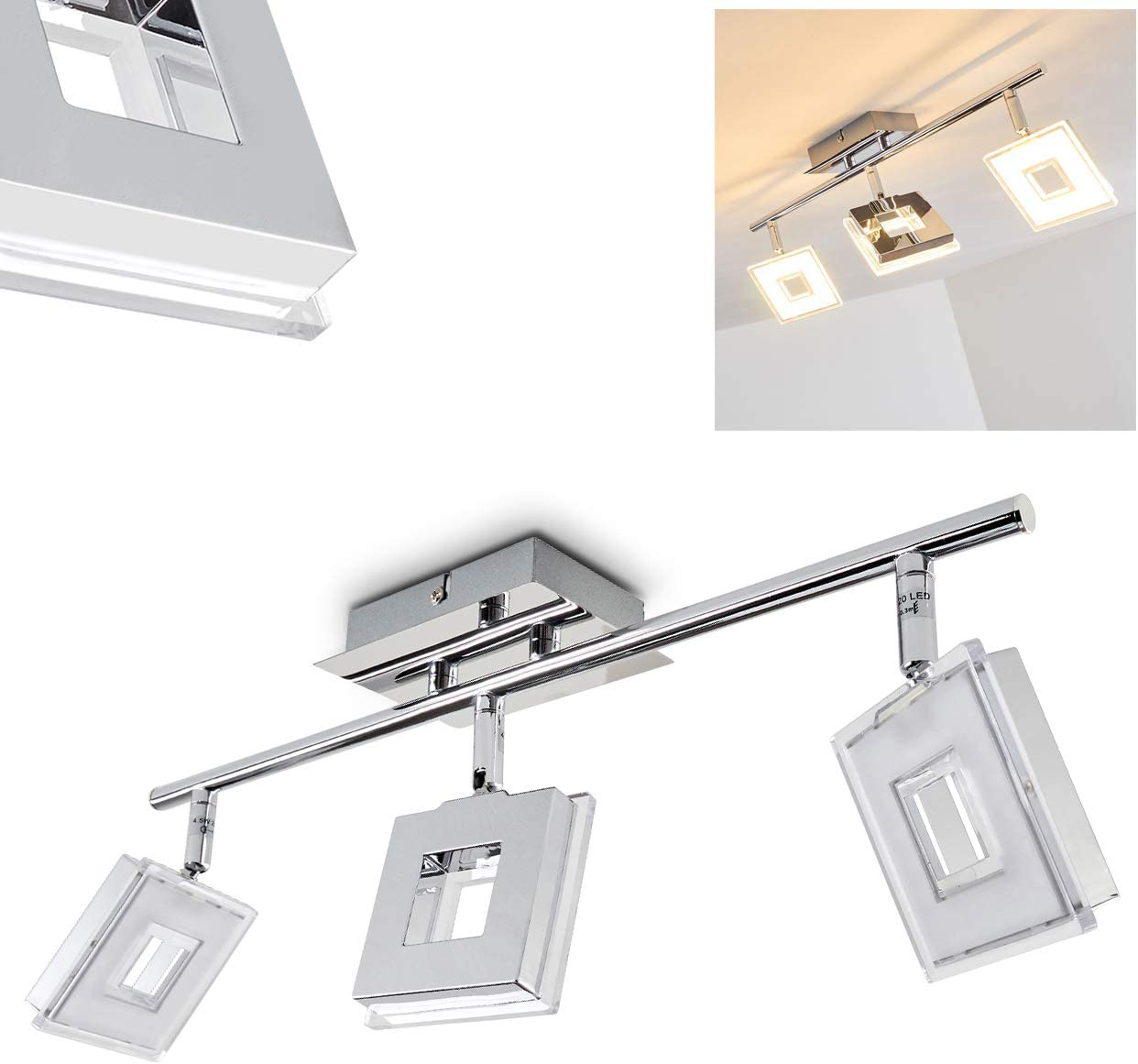 Led Ceiling Light Spotlight Bar Three Adjustable Spots 3 X 4 5w 350 Lumen Per Spot 3000 Kelvin Amazon Co Uk Lighting