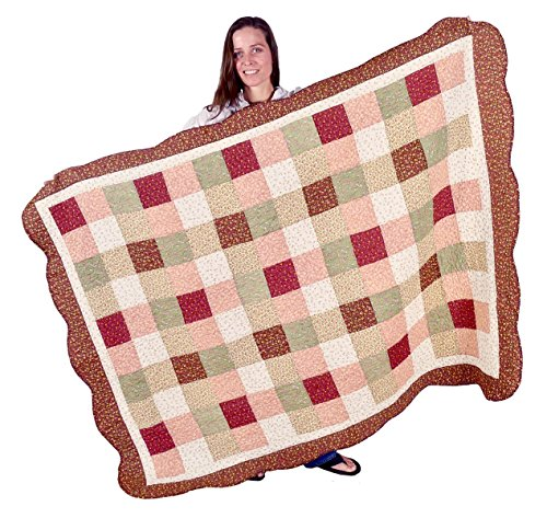 Squish Antique Patchwork Quilted Oversize Throw 53x70-Inch - Harvest Squares ()