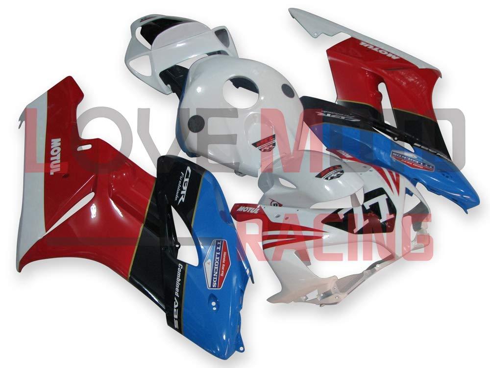 LoveMoto ブルー/イエローフェアリング ホンダ honda CBR1000 RR 2004 2005 04 05 CBR1000RR ABS射出成型プラスチックオートバイフェアリングセットのキット ホワイト レッド   B07K7N613P