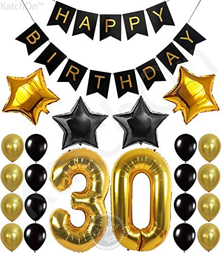 30th Birthday Party Decorations KIT - Happy Birthday Banner, 30th Gold Number Balloons,Gold and Black, Number 30, Perfect 30 Years Old Party Supplies,Free Bday Printable -